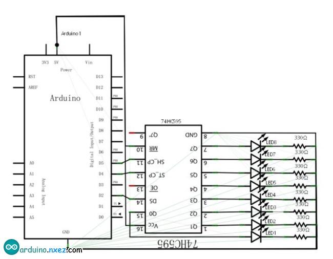 74hc595  u82af u7247 u539f u7406 u548c arduino  u4f7f u7528 u5b9e u4f8b  u2013 arduino  u5b9e u9a8c u5ba4